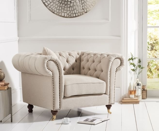 Mark Harris Camara Chesterfield Cream Linen Armchair