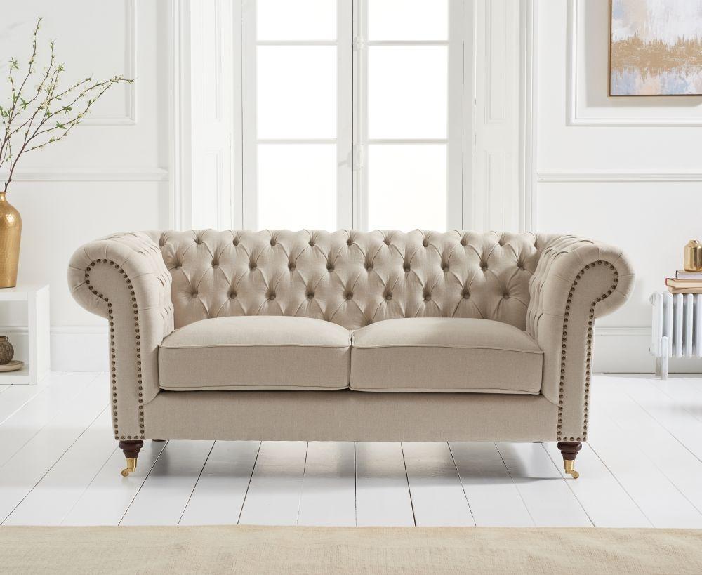Mark Harris Camara Chesterfield Beige Linen 2 Seater Sofa