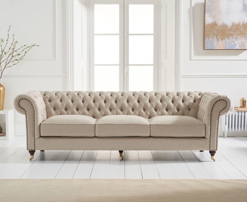 Mark Harris Camara Chesterfield Beige Linen 3 Seater Sofa