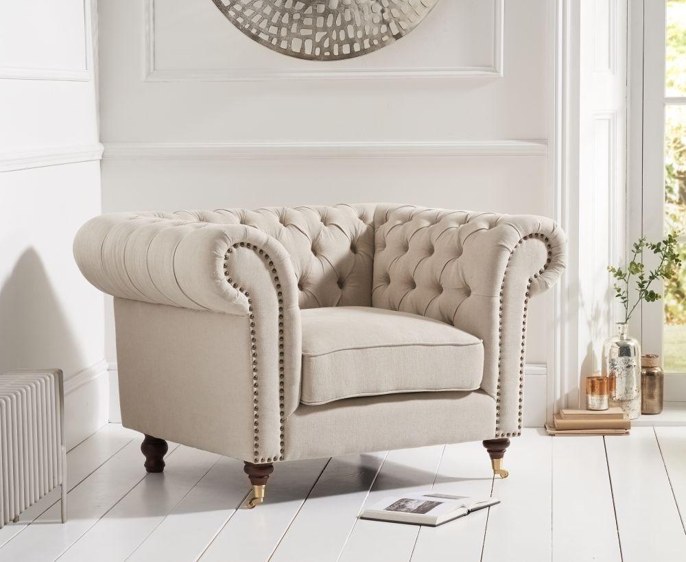Mark Harris Camara Chesterfield Beige Linen Fabric Armchair