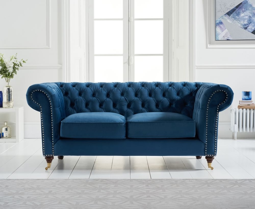 Mark Harris Camara Chesterfield 2 Seater Sofa Blue Velvet