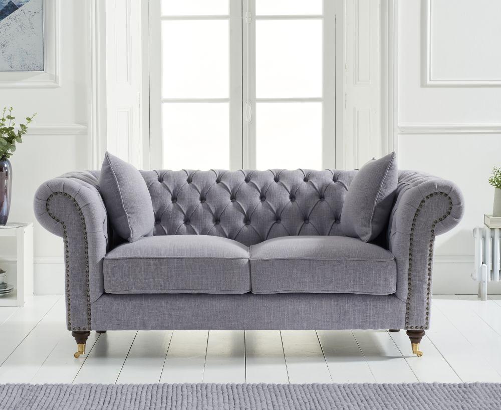 Mark Harris Camara Chesterfield Grey Linen Fabric 2 Seater Sofa
