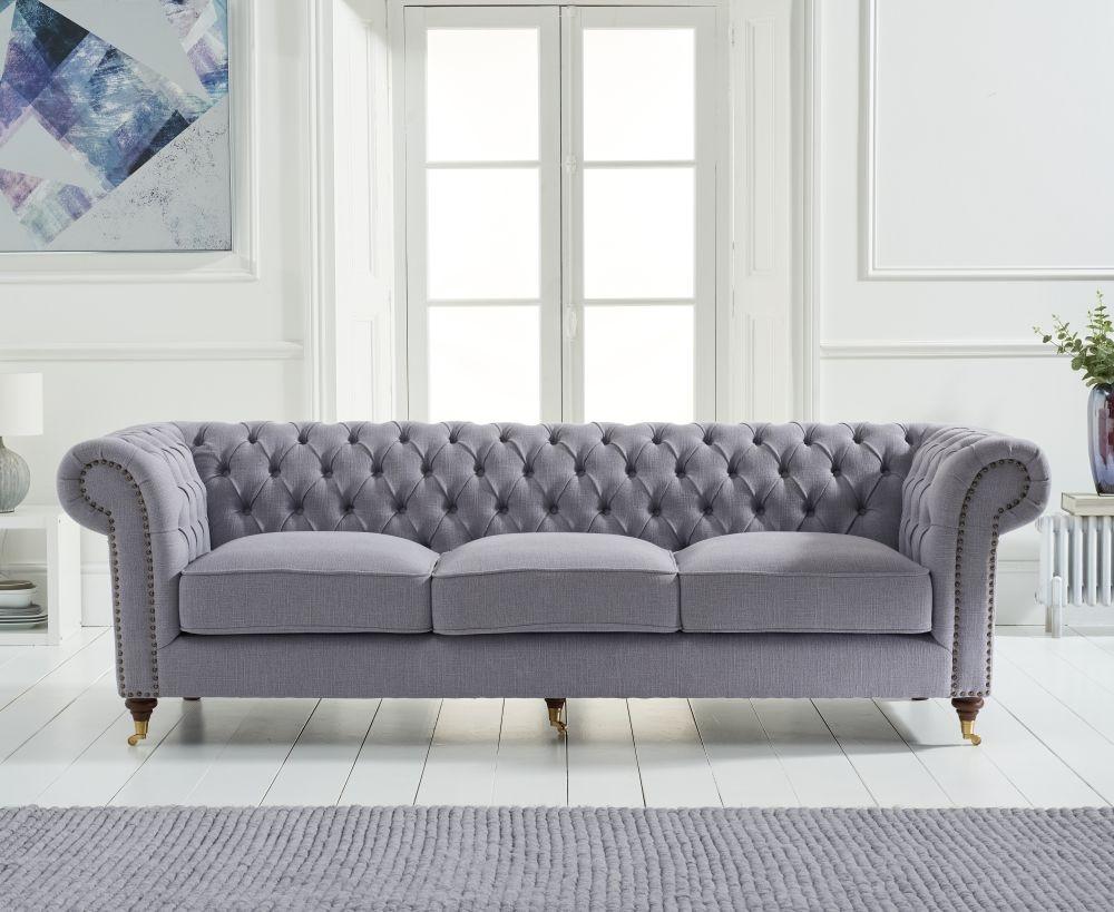 Mark Harris Camara Chesterfield Grey Linen Fabric 3 Seater Sofa
