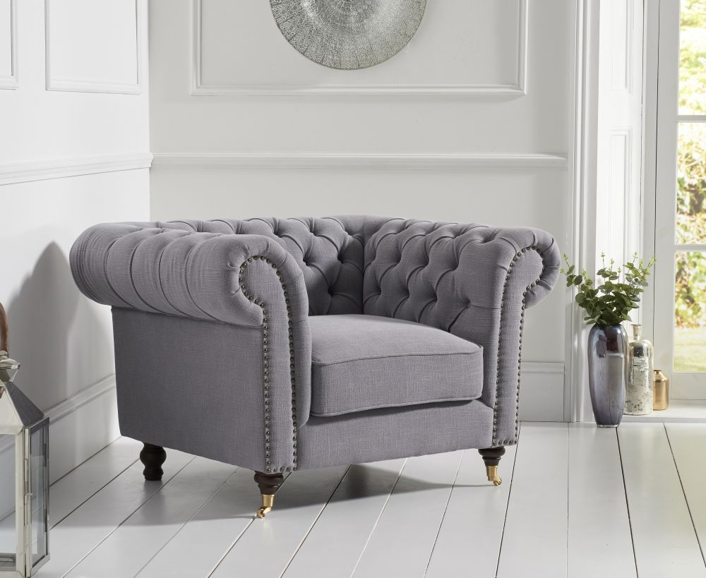 Mark Harris Camara Chesterfield Grey Linen Armchair