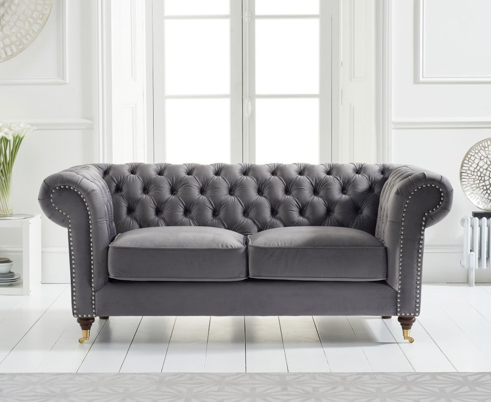 Mark Harris Camara Chesterfield Grey Velvet 2 Seater Sofa