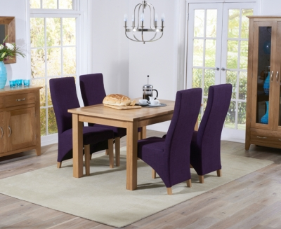 Mark Harris Cambridge Solid Oak 120cm Extending Dining Set with 4 Harley Plum Fabric Dining Chairs