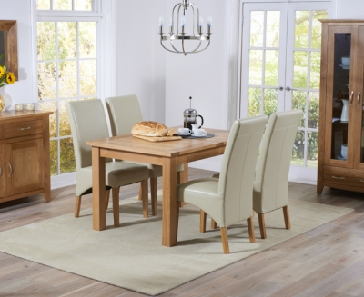 Mark Harris Cambridge Solid Oak 120cm Extending Dining Table with 4 Roma Cream Bycast Leather Chairs