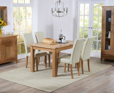 Mark Harris Cambridge Solid Oak 130cm Extending Dining Set with 4 Atlanta Cream Bycast Leather Dining Chairs