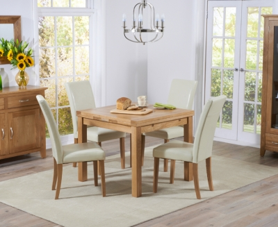 Mark Harris Cambridge Solid Oak 90cm Extending Dining Set with 4 Atlanta Cream Bycast Leather Dining Chairs