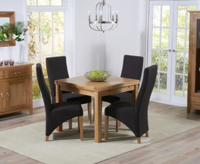 Mark Harris Cambridge Solid Oak 90cm Extending Dining Table with 4 Harley Charcoal Fabric Chairs