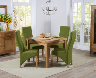 Mark Harris Cambridge Solid Oak 90cm Extending Dining Table with 4 Harley Lime Fabric Chairs
