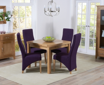 Mark Harris Cambridge Solid Oak 90cm Extending Dining Table with 4 Harley Plum Fabric Chairs