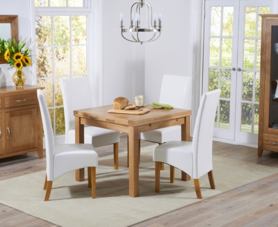Mark Harris Cambridge Solid Oak 90cm Extending Dining Set with 4 Venice Ivory Faux Leather Dining Chairs