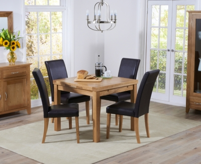 Mark Harris Cambridge Oak Square Extending Dining Table and 4 Atlanta Brown Faux Leather Chairs