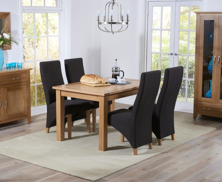 Mark Harris Cambridge Solid Oak 120cm Extending Dining Table with 4 Harley Charcoal Fabric Chairs