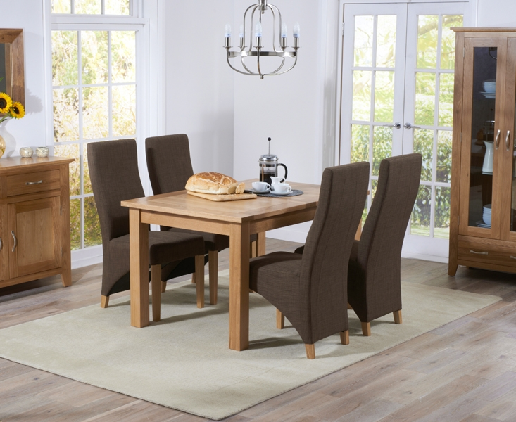 Mark Harris Cambridge Solid Oak 120cm Extending Dining Table with 4 Harley Cinnamon Fabric Chairs