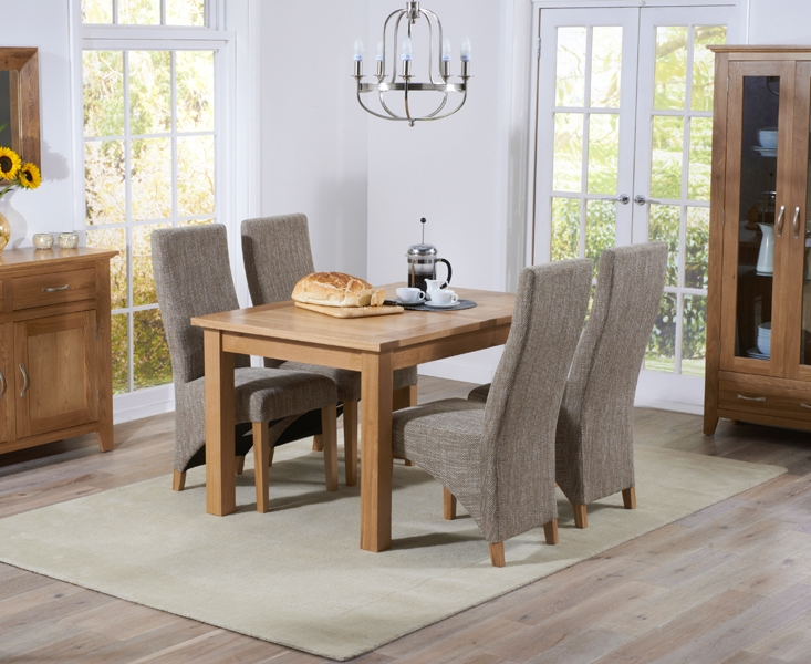 Mark Harris Cambridge Solid Oak 120cm Extending Dining Set with 4 Harley Tweed Fabric Dining Chairs