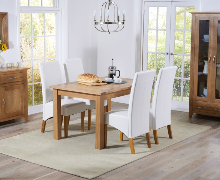 Mark Harris Cambridge Solid Oak 120cm Extending Dining Set with 4 Venice Ivory Faux Leather Chairs