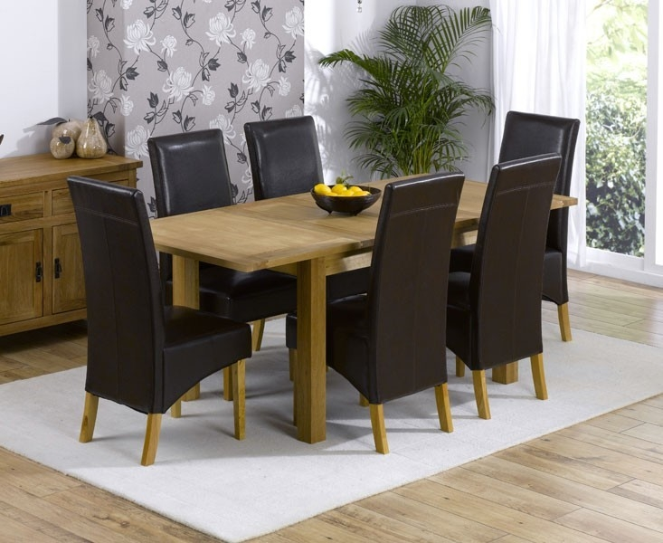 Mark Harris Cambridge Solid Oak 130cm Extending Dining Table with 6 Venice Brown Faux Leather Chairs