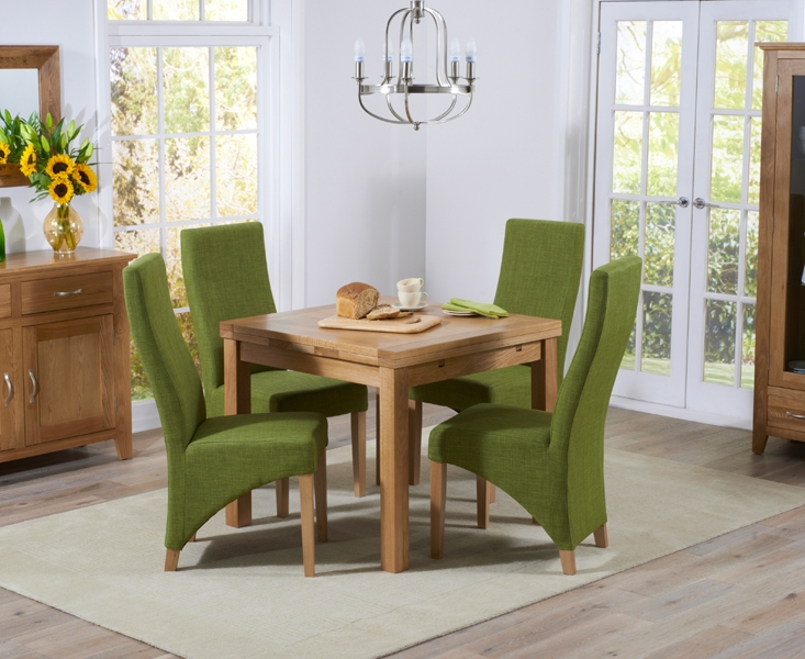 Mark Harris Cambridge Solid Oak 90cm Extending Dining Set with 4 Harley Lime Fabric Chairs
