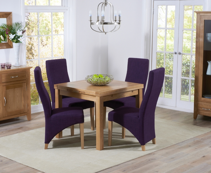 Mark Harris Cambridge Solid Oak 90cm Extending Dining Set with 4 Harley Plum Fabric Dining Chairs