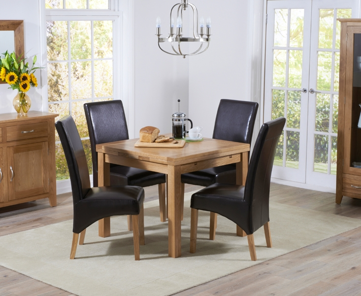 Mark Harris Cambridge Solid Oak 90cm Extending Dining Set with 4 Roma Brown Bycast Leather Chairs
