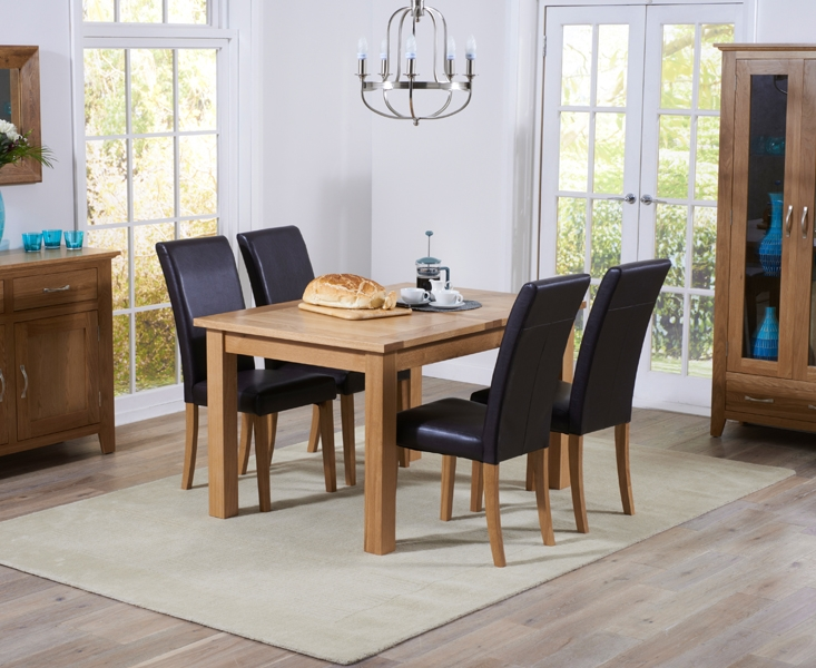 Mark Harris Cambridge Oak Extending Dining Table and 4 Atlanta Brown Faux Leather Chairs
