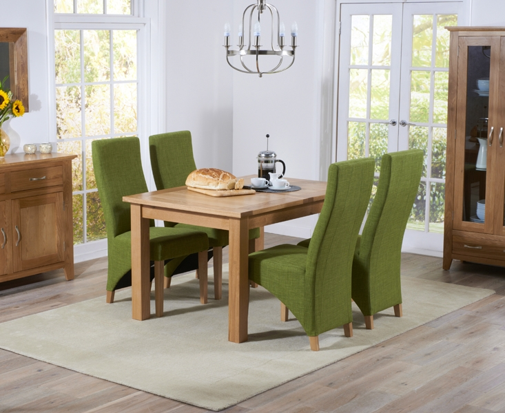 Mark Harris Cambridge Solid Oak Dining Set - 120cm Extending with 4 Harley Lime Fabric Chairs