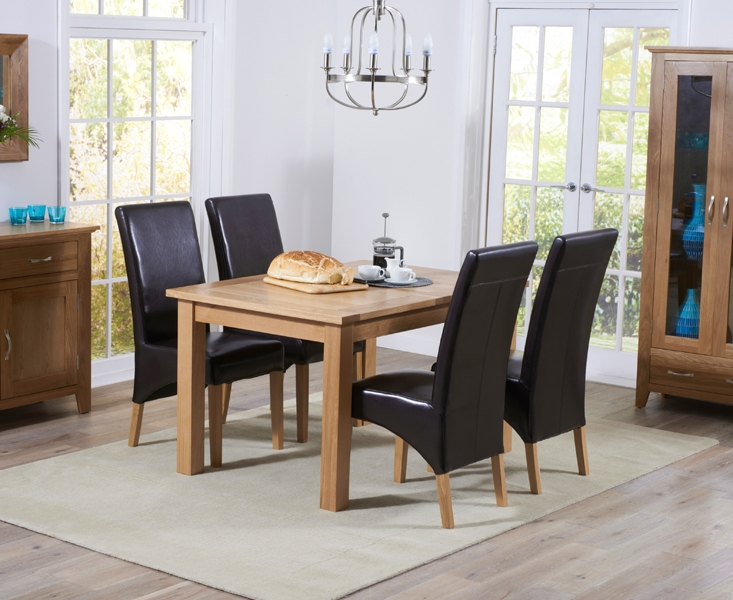 Mark Harris Cambridge Oak Extending Large Dining Table and 4 Roma Brown Bycast Leather Chairs