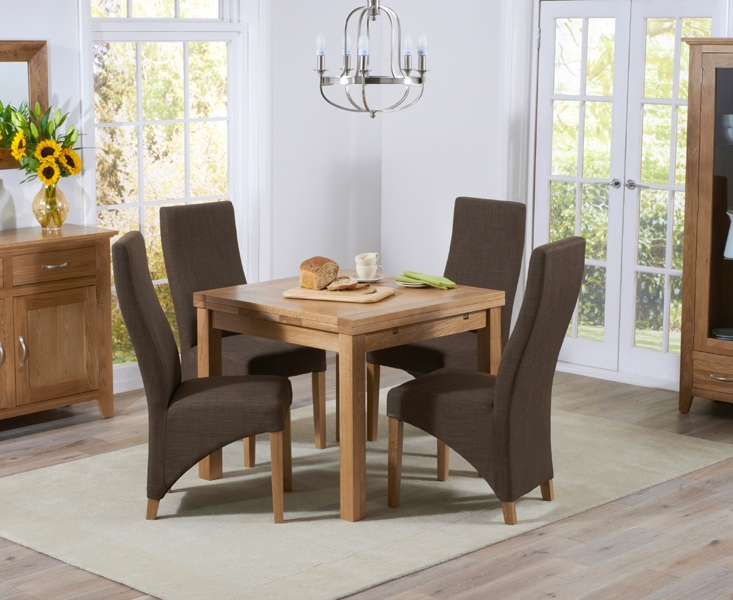 Mark Harris Cambridge Solid Oak Dining Set - 90cm Square Extending with 4 Harley Cinnamon Fabric Chairs