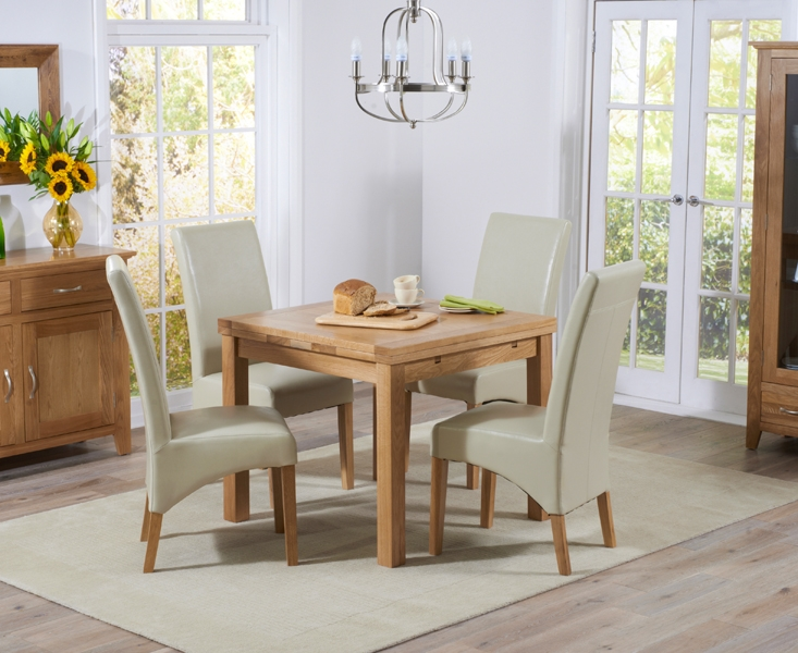 Mark Harris Cambridge Solid Oak Dining Set - 90cm Square Extending with 4 Roma Cream Bycast Leather Chairs