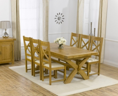 Mark Harris Canterbury Oak Dining Set - 200cm Extending with 4 Canterbury Cream Chairs