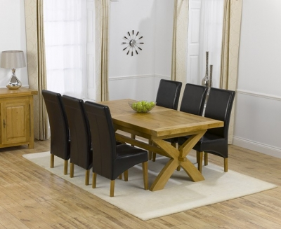 Mark Harris Canterbury Oak Dining Set - 200cm Extending with 4 Roma Brown Chairs