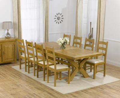 Mark Harris Canterbury Oak Dining Set - 200cm Extending with 4 Valencia Cream Chairs
