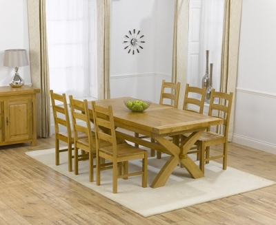 Mark Harris Canterbury Oak Dining Set - 200cm Extending with 4 Valencia Timber Chairs
