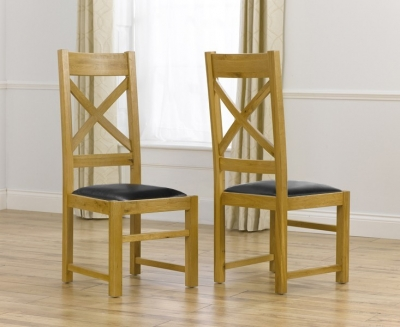 Mark Harris Canterbury Oak and Brown Leather Dining Chair (Pair)