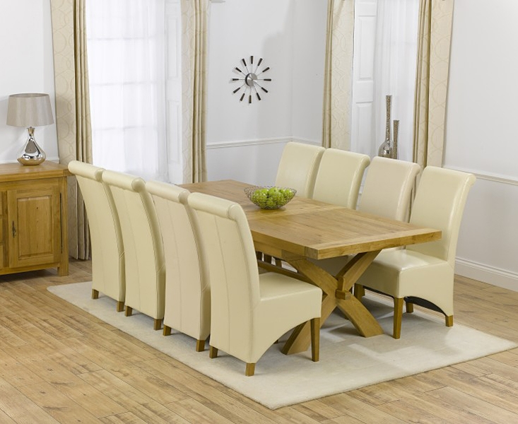 Mark Harris Canterbury Oak Dining Set - 200cm Rectangular Extending with 4 Barcelona Cream Chairs