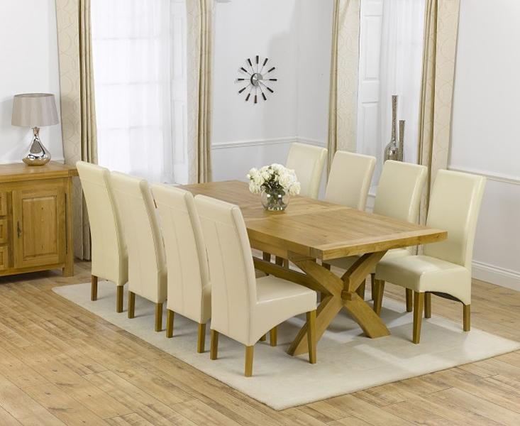 Mark Harris Canterbury Oak Dining Set - 200cm Extending with 4 Roma Cream Chairs