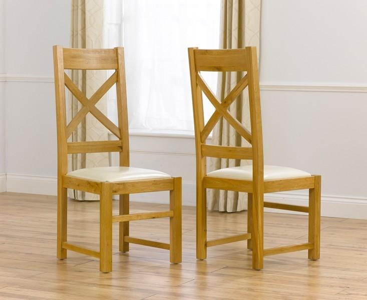 Mark Harris Canterbury Oak and Cream Leather Dining Chair (Pair)