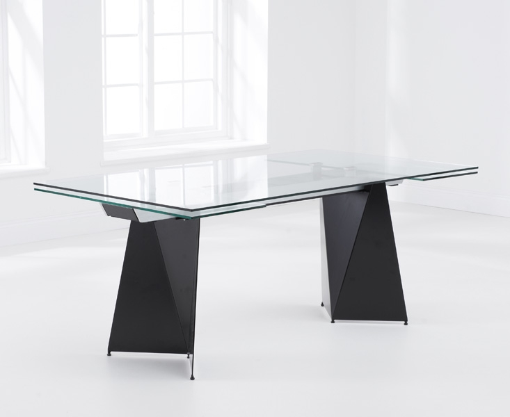 Mark Harris Cape Verdi 180cm Black Glass Extending Dining Table