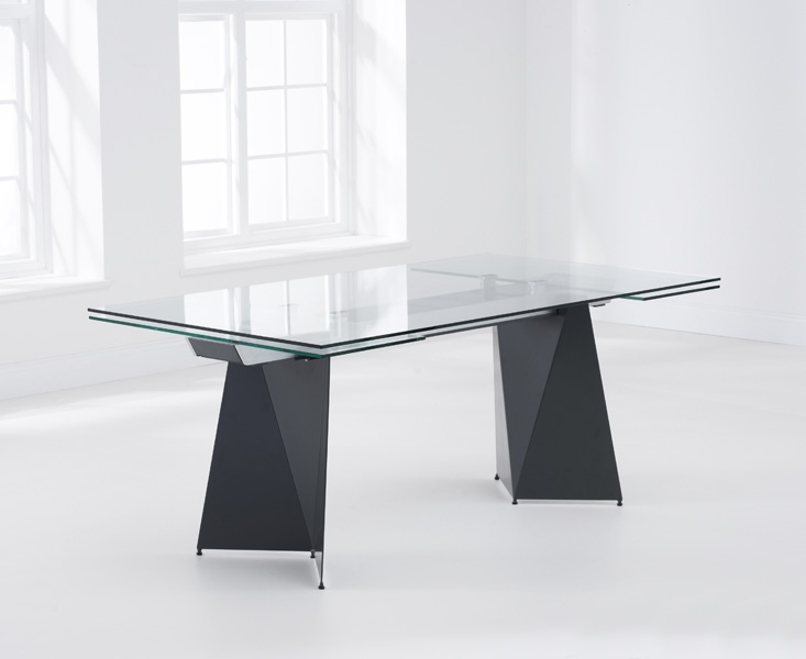 Mark Harris Cape Verdi Grey Glass Dining Table - 180cm Rectangular Extending