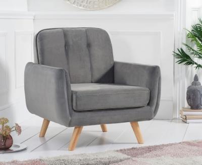 Mark Harris Caren Grey Velvet Armchair