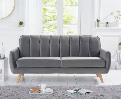 Mark Harris Caren Grey Velvet 3 Seater Sofa