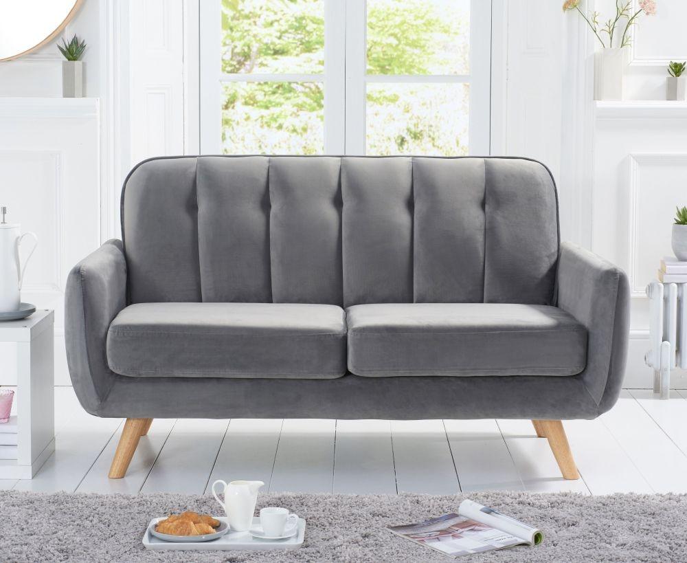 Mark Harris Caren Grey Velvet 2 Seater Sofa