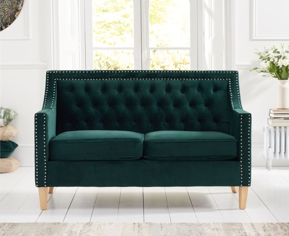 Mark Harris Casa Bella Green Plush Fabric 2 Seater Sofa