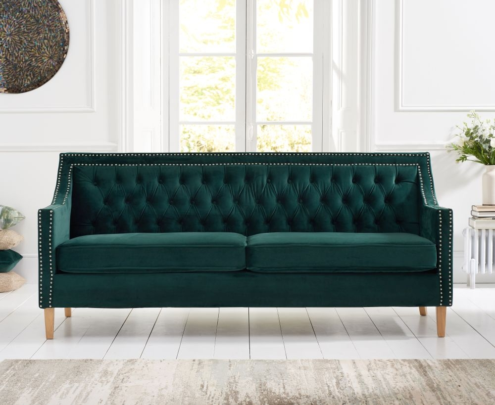 Mark Harris Casa Bella Green Plush Fabric 3 Seater Sofa