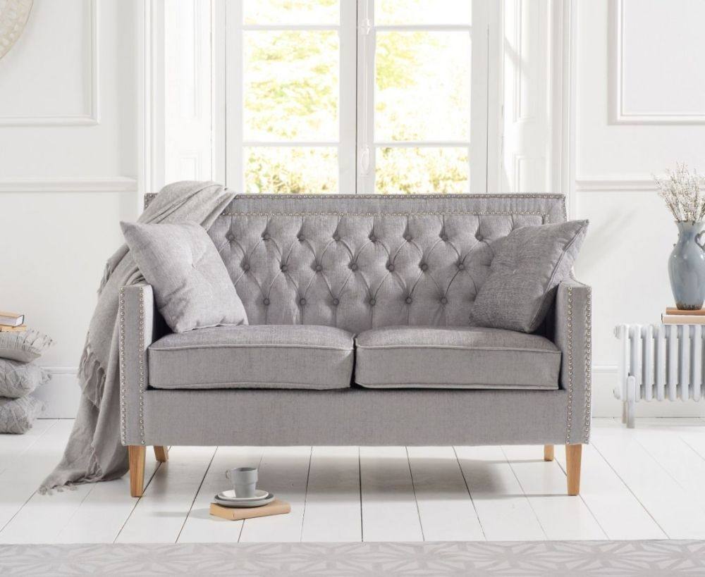Mark Harris Casa Bella Grey Plush Fabric 2 Seater Sofa