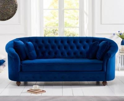 Mark Harris Casey Chesterfield Blue Plush Fabric 3 Seater Sofa
