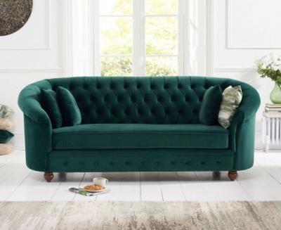 Mark Harris Casey Chesterfield Green Plush Fabric 3 Seater Sofa