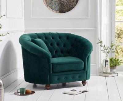 Mark Harris Casey Chesterfield Green Plush Fabric Armchair